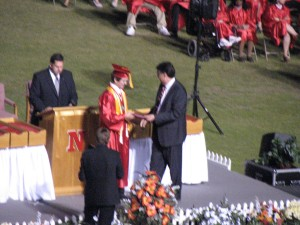 Receiving his diploma